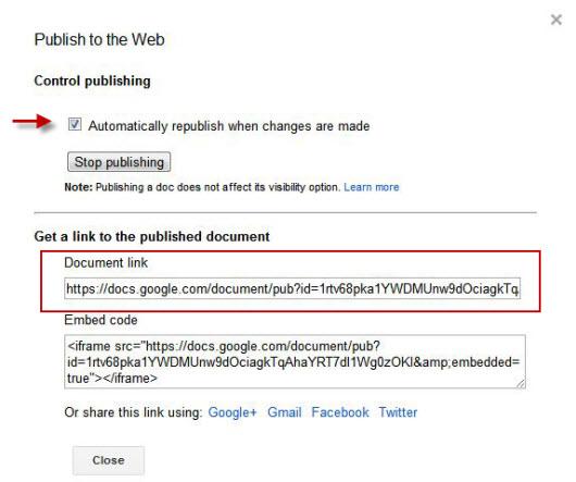 Google Doc Embed Plugin Help - Public google docs