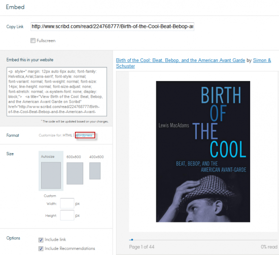 scribd embed two