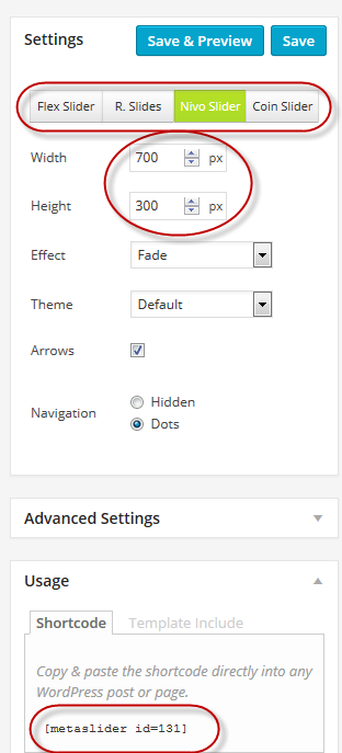 meta slider settings