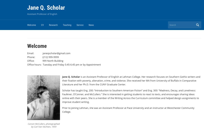 Academic Portfolio Template Help