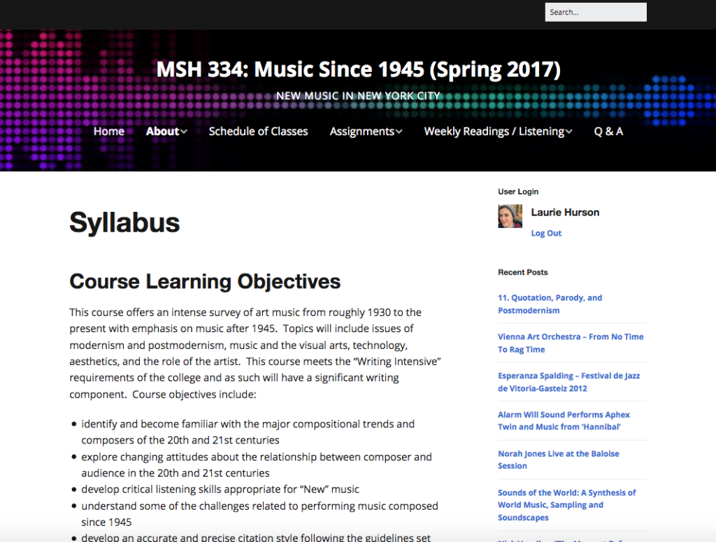 "Screenshot of ""Music Since 1945"" Course"